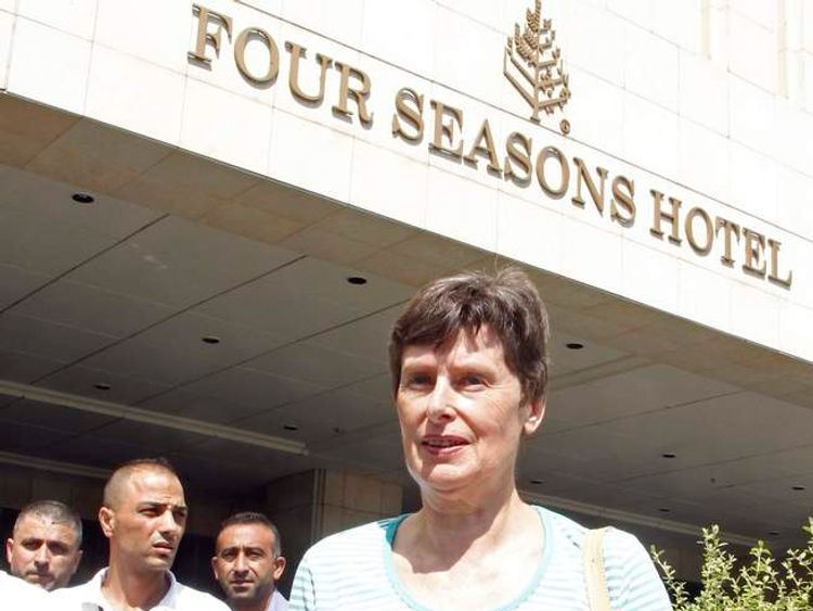 UN High Representative for Disarmament Affairs Angela Kane leaves a hotel in Damascus