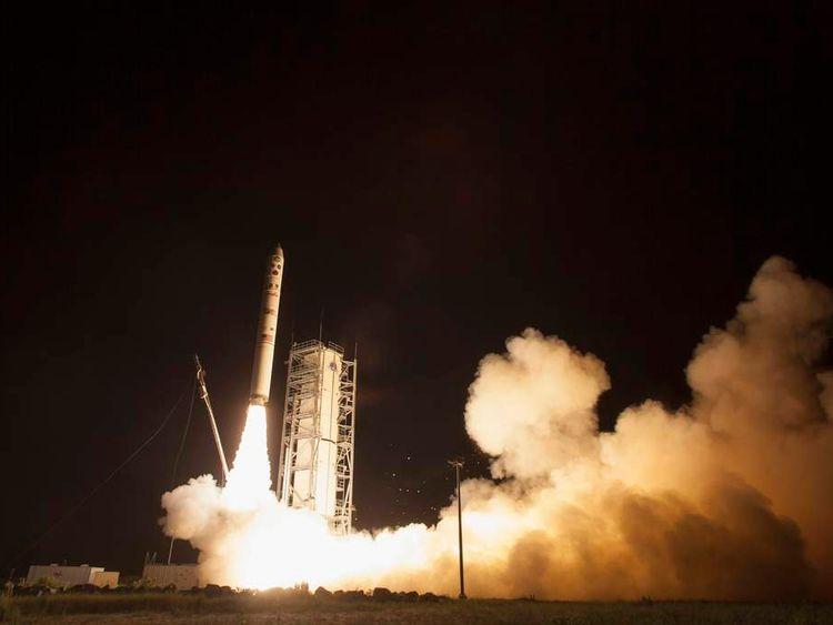 NASA's Lunar Atmosphere and Dust Environment Explorer observatory launches the Minotaur V rocket at NASA's Wallops Flight Facility in Virginia in this NASA handout photo