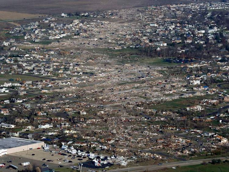 An aerial view shows the path of destruction caused by a tornado that touched down in Washington, Illinois,