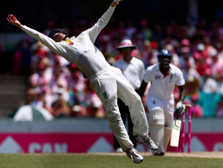 Australia's Bailey makes a catch to dismiss England's Pietersen during the third day of the fifth Ashes cricket test at the Sydney cricket ground