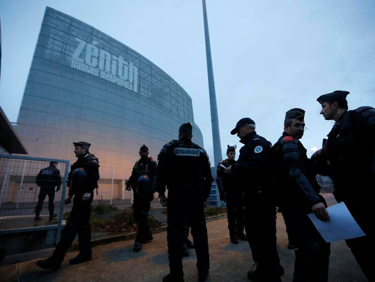 Gendarmes gather outside the Zenith concert hall where French humorist Dieudonne M'bala M'bala, also known as Dieudonne, is to hold his show in Nantes