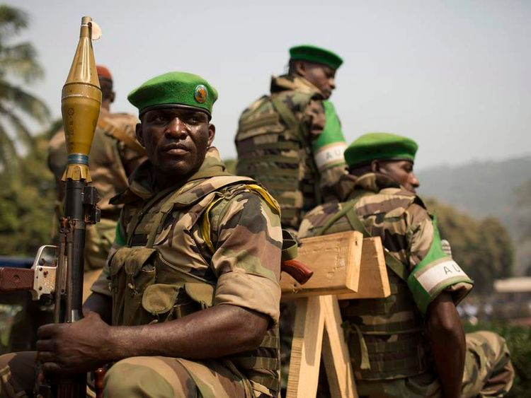 Soldiers from the African Union peacekeeping mission in the Central African Republic