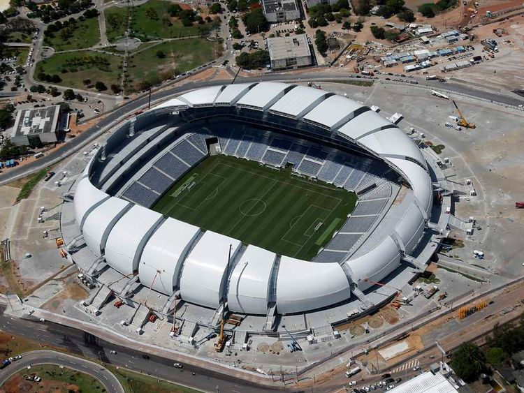 An aerial view shows the Arena das Dunas stadium, which will host matches for the 2014 soccer World Cup, in Natal