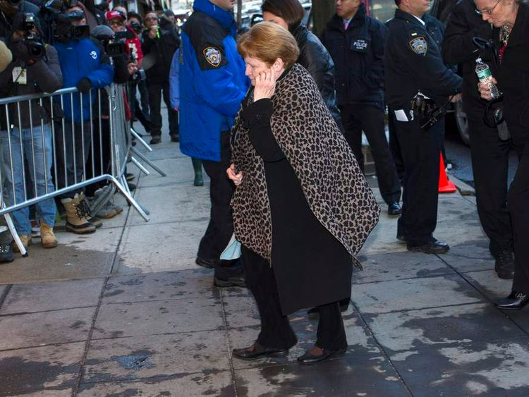 Marilyn O'Connor, the mother of  deceased U.S. actor Phillip Seymour Hoffman, makes her way to her son's wake in Manhattan