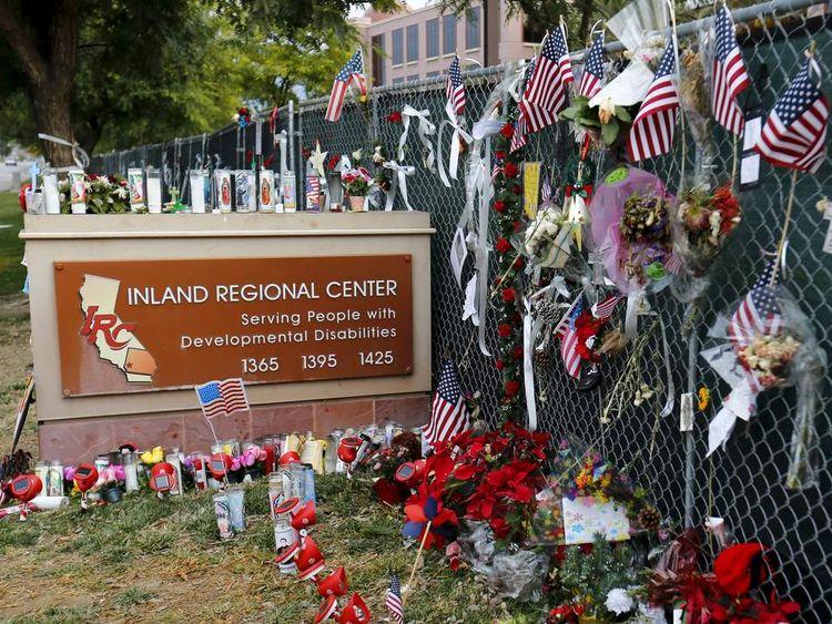 Memorial outside Inland Regional Center, San Bernardino
