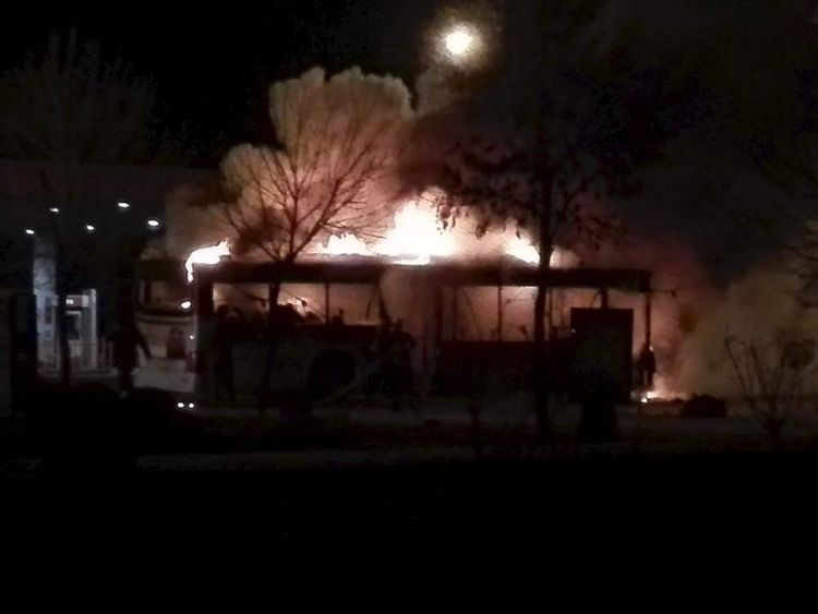 A bus catches a fire on a street in Yinchuan