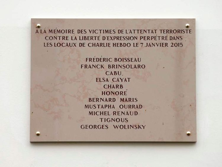 A commemorative plaque to Charlie Hebdo attack victims