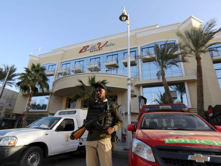 Egyptian security stands guard in front of the entrance to Bella Vista Hotel in Hurghada