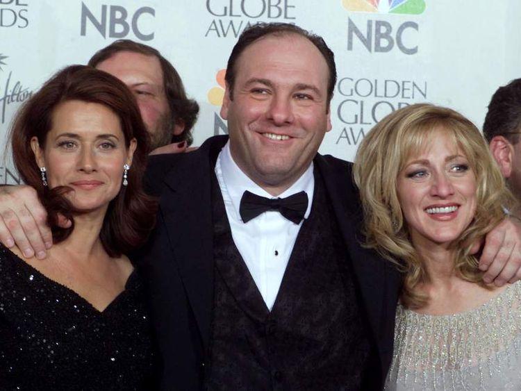 James Gandolfini with Lorraine Bracco (L) and Edie Falco (R), his co-stars in The Sopranos