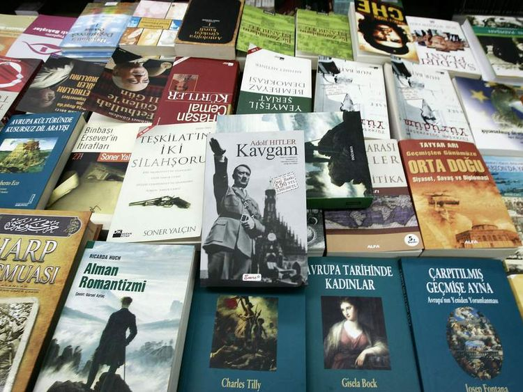 "A Turkish copy of Adolf Hitler's ""Mein Kampf"" or ""Kavgam"" in Turkish, is on display at a bookstore i.."