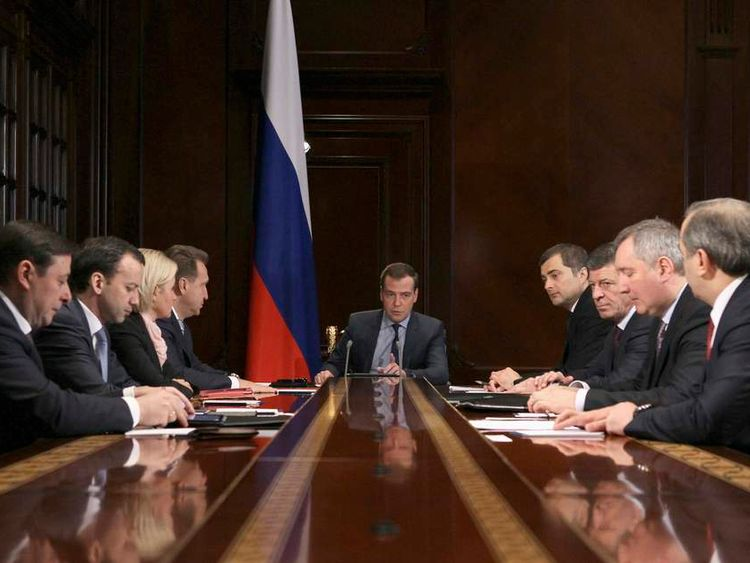 Russian PM Medvedev chairs a meeting with his deputies at the Gorki state residence outside Moscow