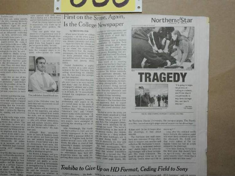 Newspaper clipping about 2008 mass shooting at Northern Illinois University
