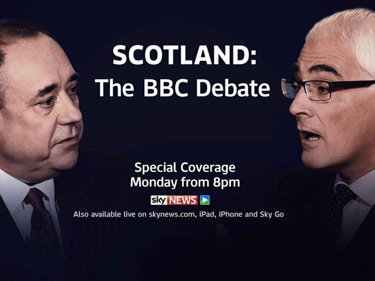 Watch the debate between Alex Salmond and Alistair Darling on Sky News from 8pm.