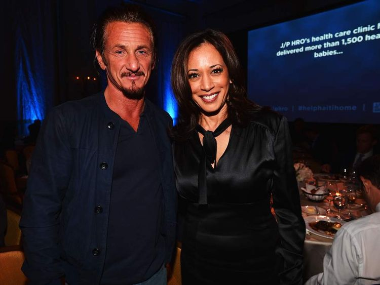 Sean Penn and Kamala Harris
