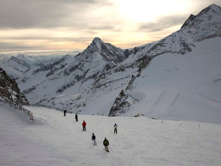 Skiers make their way down from the Hintertux Glacier near Mayrhofen