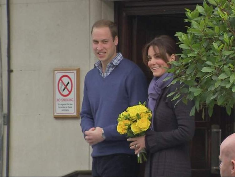 Prince William and Kate Middleton leave King edward VII hospital