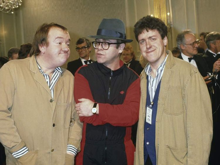 Mel Smith with Griff Rhys Jones And Elton John