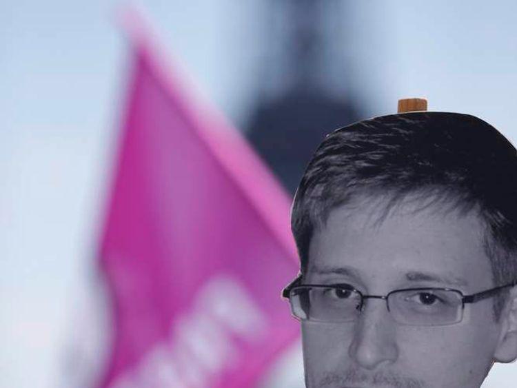Edward Snowden supporters in Paris.