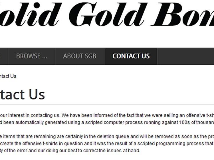 The apology for the 'rape' t-shirts on Solid Gold Bomb's website