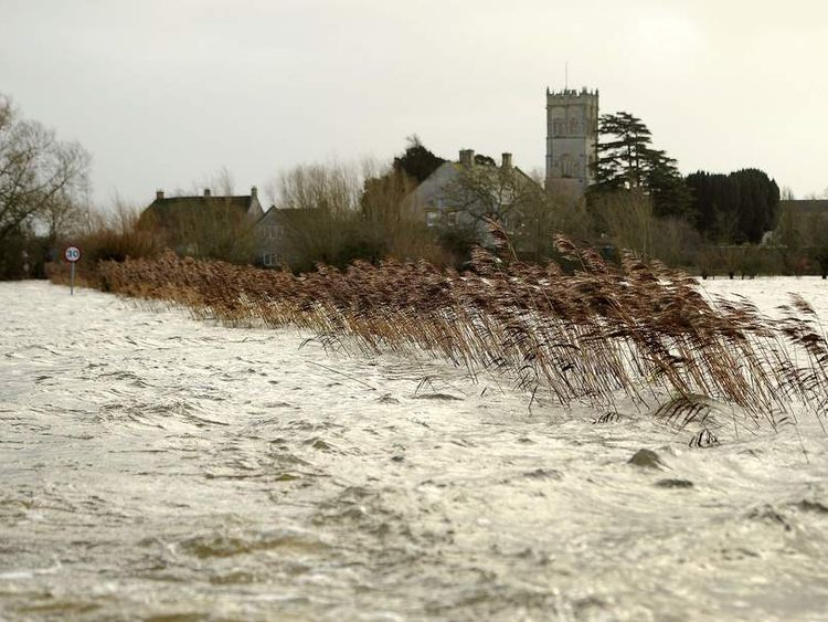 A view of flood water surrounding the village of Muchelney in Somerset