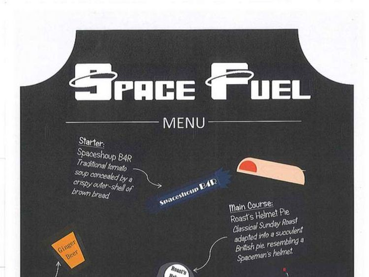 Space Fuel menu for British ESA astronaut Tim Peake
