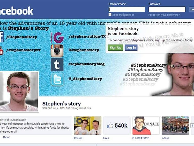 Facebook and fundraising pages for Stephen Sutton