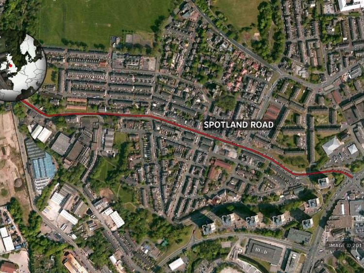 Map of Spotland Road in Rochdale