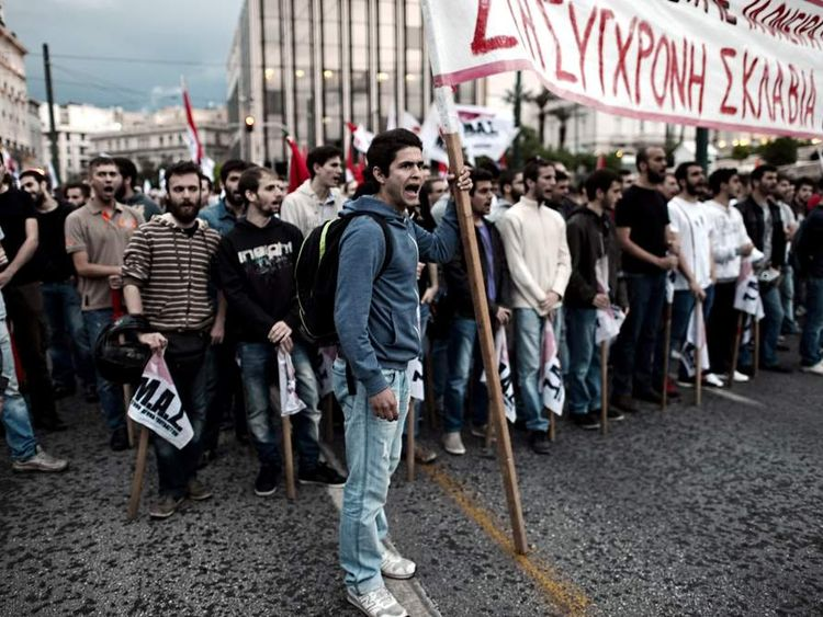 Greek teachers and students demonstrate in central Athens
