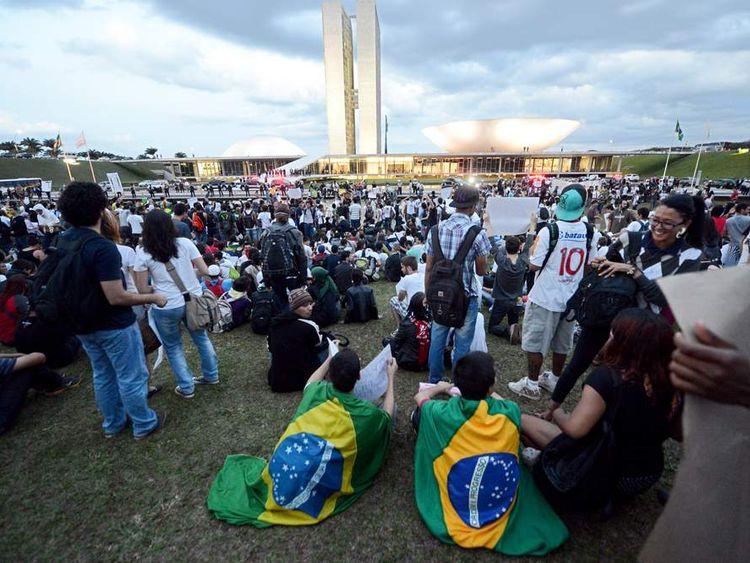Students protest in Brasilia