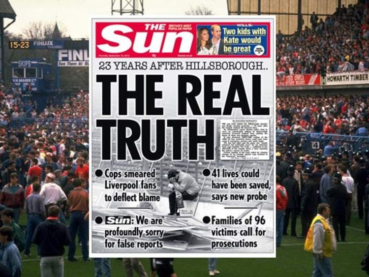 Sun Newspaper Apologises For Hillsborough Front Page