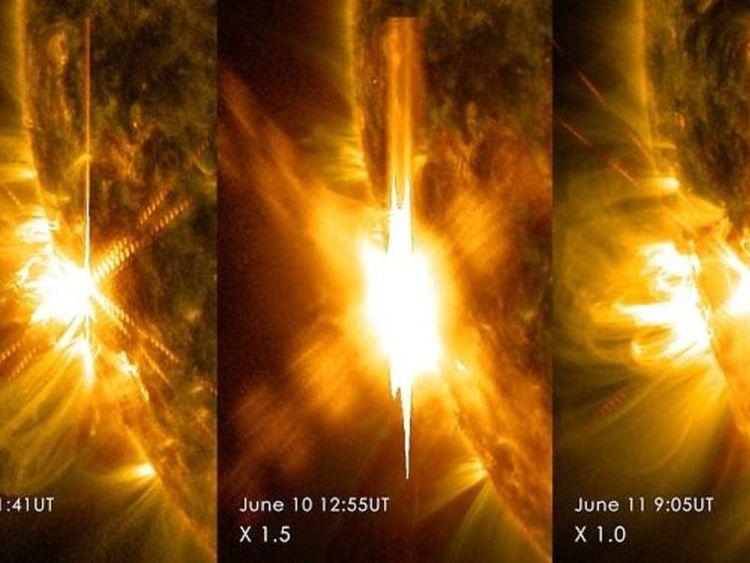 Solar flares.