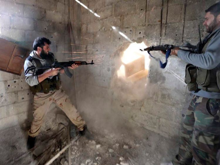 Syrian Freedom Fighters engaged in conflict