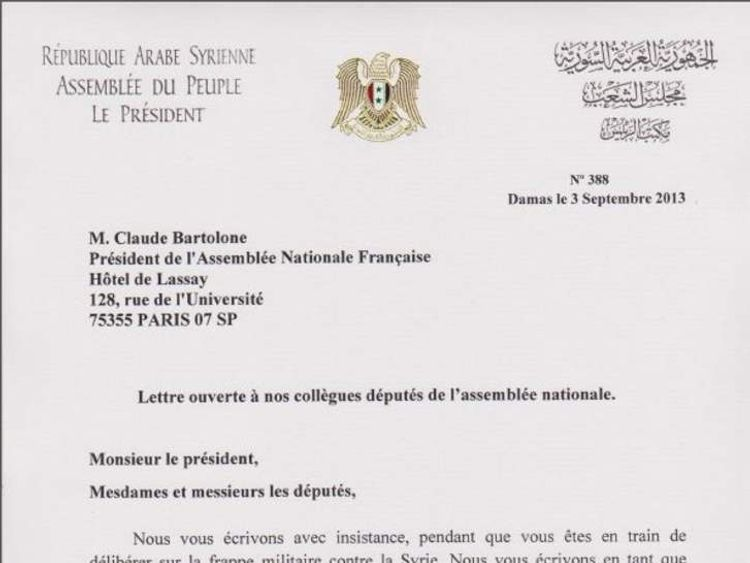 Syria letter to France
