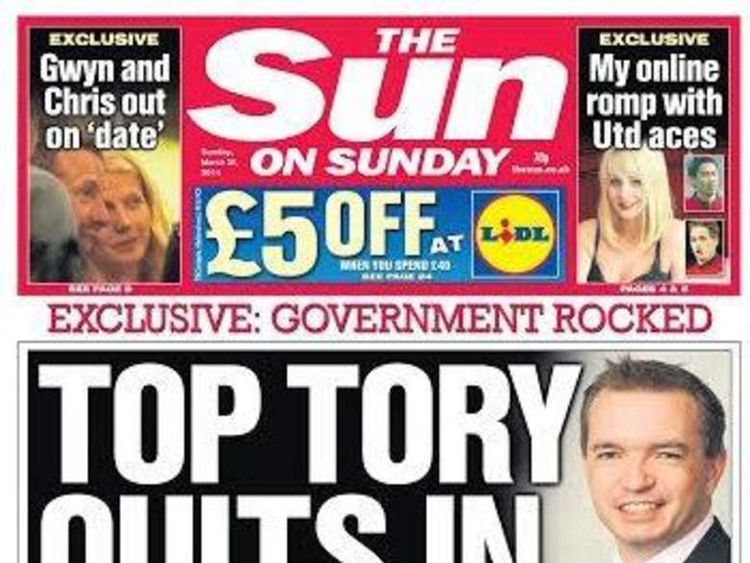 The Sun On Sunday front page