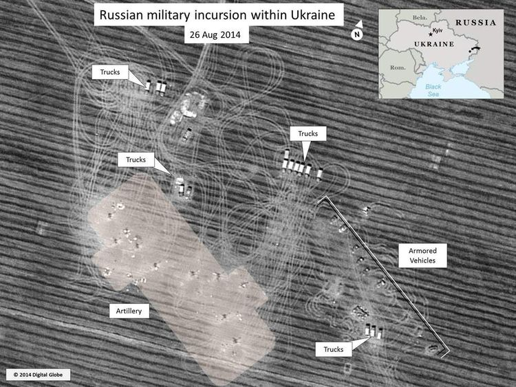 Satellite imagery of Russian tanks in Ukraine, provided to Sky News by security forces