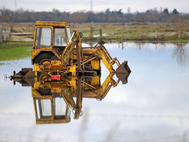 Flooded farmland surrounding Burrowbridge in Somerset