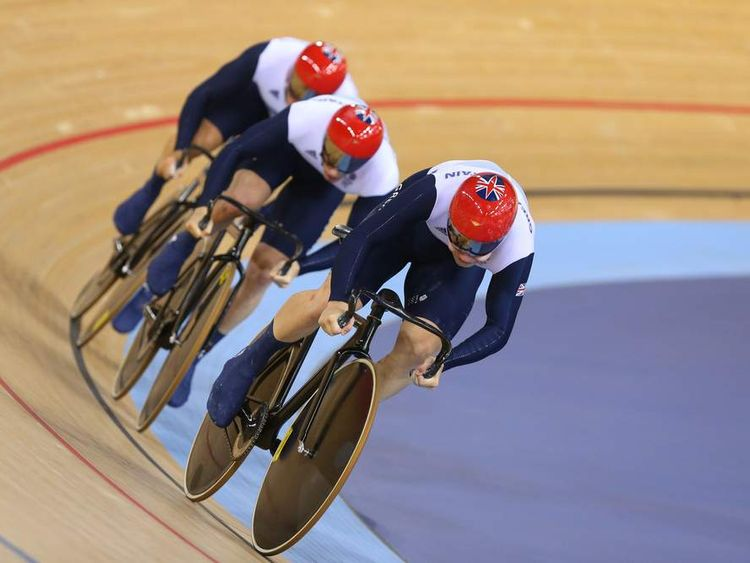 Philip Hindes (front), Jason Kenny (C) and Sir Chris Hoy (rear)