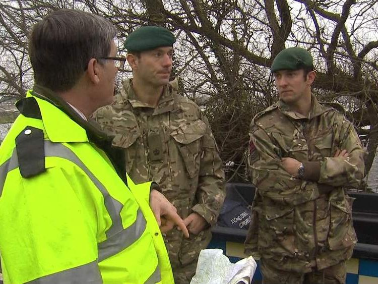 Troops survey floods in Somerset