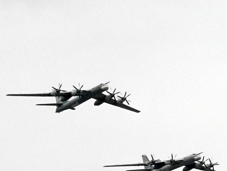 Russian Tu-95 MS planes fly over the Kremlin