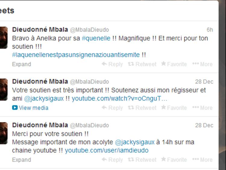 Comedian Dieudonne's tweet in support of Anelka
