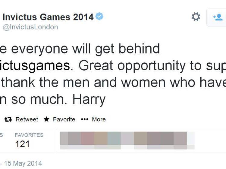 Prince Harry sends his first tweet