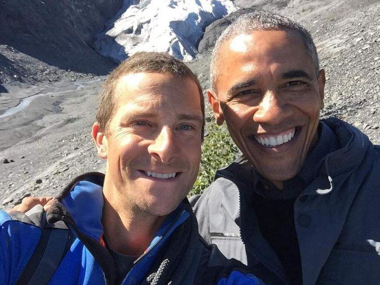 Barack Obama and Bear Grylls (L)