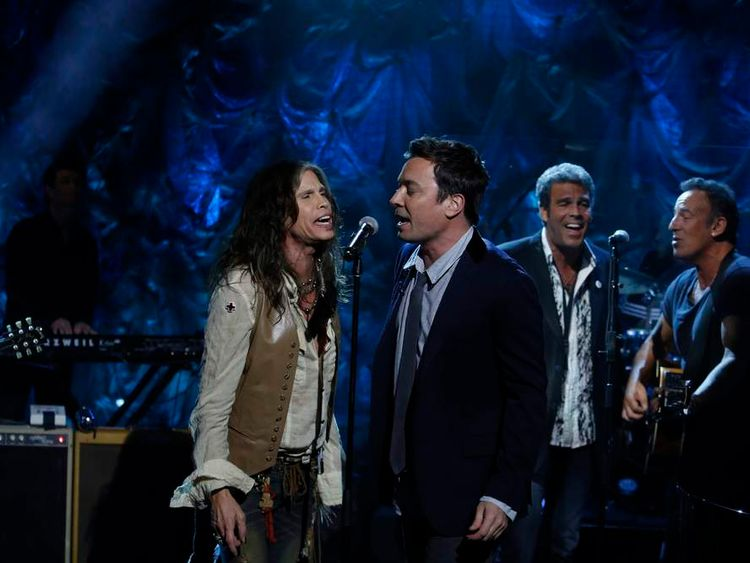 Steven Styler, Jimmy Fallon, Mark Rivera and Bruce Springsteen