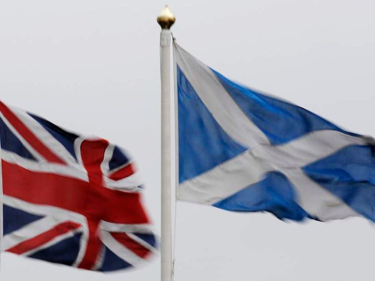 The Union flag and Saltire are seen flying side by side at Bankfoot in Perthshire, Scotland