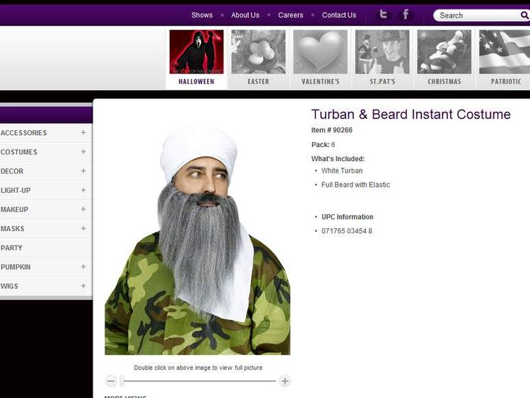 Image of a costume for sale on www.fun-world.net that bears a striking resemblance to Osama Bin Laden