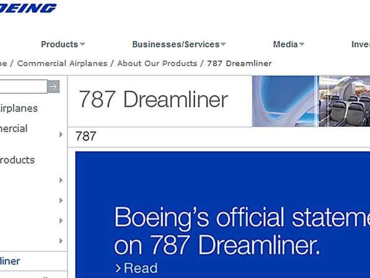 Boeing statement on its website