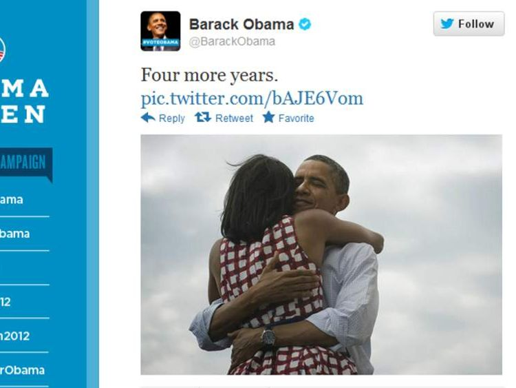 Barack Obama tweeting a picture after his victory in the 2012 presidential election.