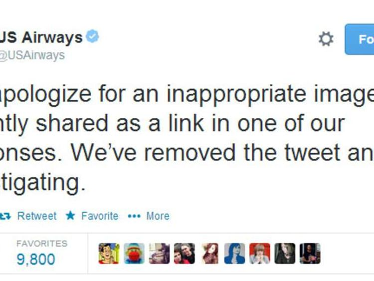 US airways apology over lewd tweet