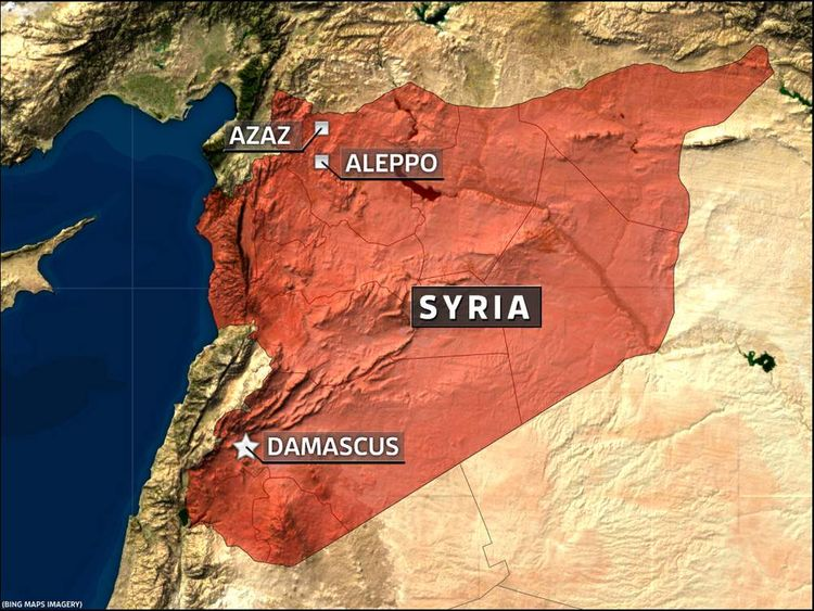 Map of Syria showing Azaz