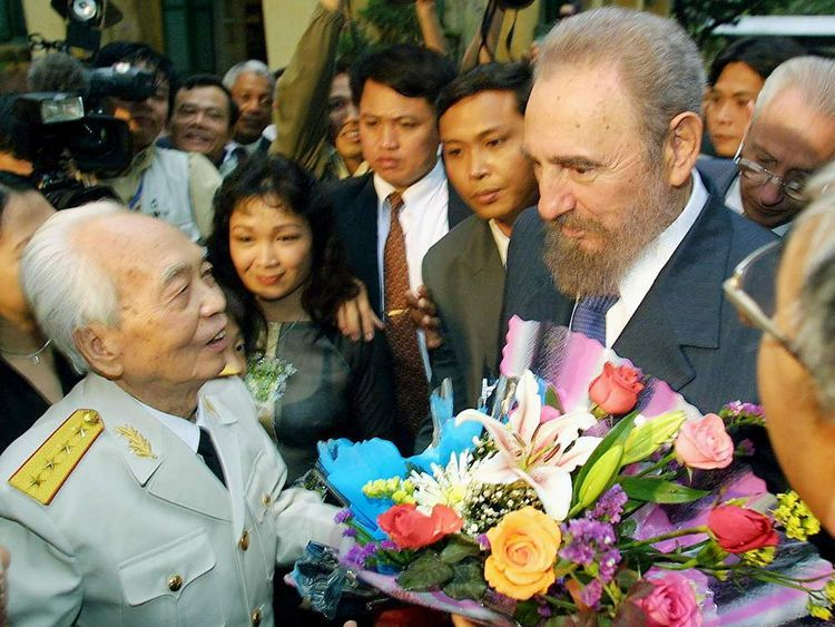 The general with visiting Cuban President Fidel Castro in 2003